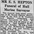 Mr E. S. Hepton—Funeral of Hull Marine Surveyor, 1942 August 1, Hull Daily Mail