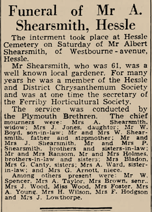 Funeral of Mr A. Shearsmith, Hessle