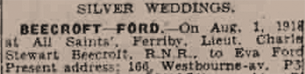 Silver wedding Beecroft—Ford