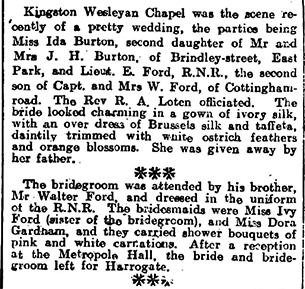 Wedding of Ernest Ford and Ida Burton